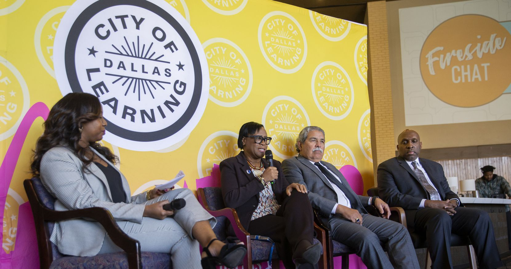 Dallas Mavericks CEO Cynt Marshall speaks alongside  DISD Superintendent Michael Hinojosa and City Manager T.C. Broadnax during the Dallas City of Learning Fireside chat on Dec. 2, 2019 in Dallas. Dallas City of Learning leaders shared the results of their 2019 summer program and awards during the event. (Juan Figueroa/ The Dallas Morning News)