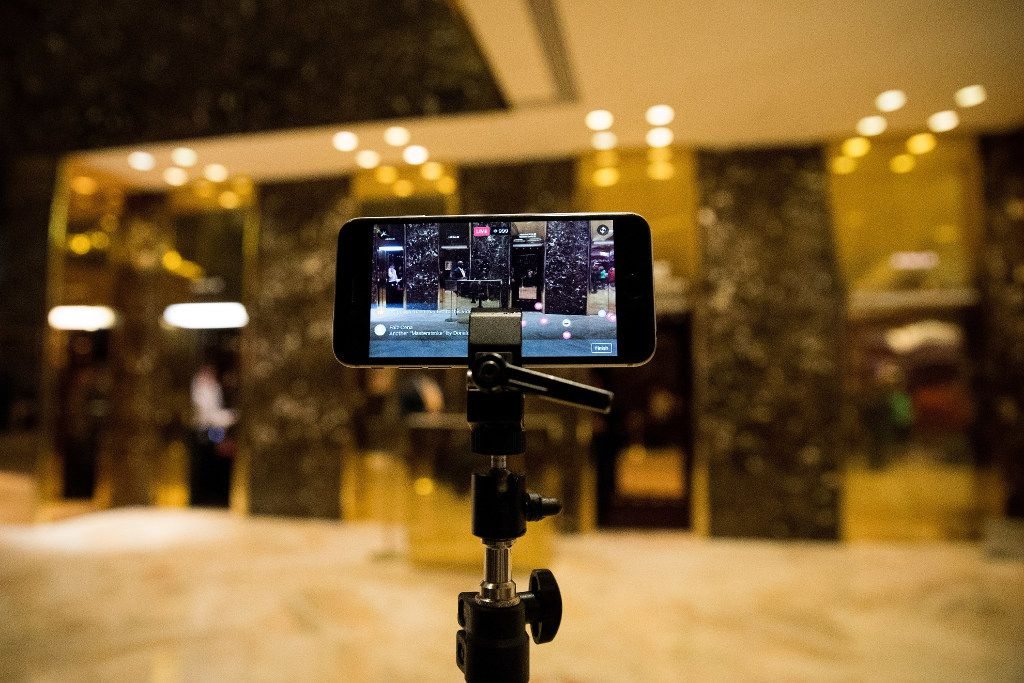 NEW YORK, NY - NOVEMBER 29: An iPhone streams a 'Facebook Live' live feed of the lobby at Trump Tower, November 29, 2016 in New York City. President-elect Donald Trump and his transition team are in the process of filling cabinet and other high level positions for the new administration. (Photo by Drew Angerer/Getty Images)
