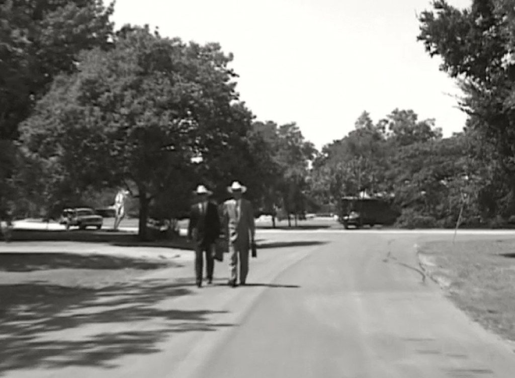 A still from the 15-minute film Middletown by artist Nic Nicosia, filmed in 1997 in his North Dallas neighborhood on Middleton Road. The art film examines the banality of suburban life and norms.