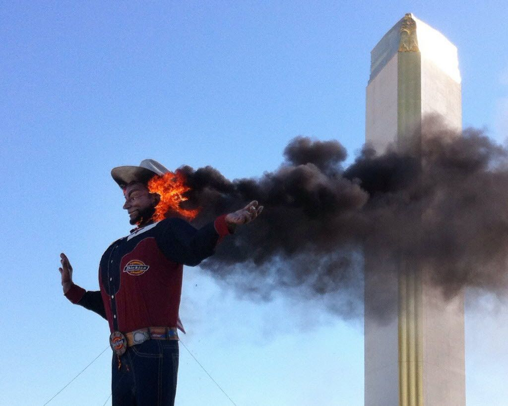 Big Tex on fire at the State Fair of Texas, Oct. 19, 2012 in Dallas.