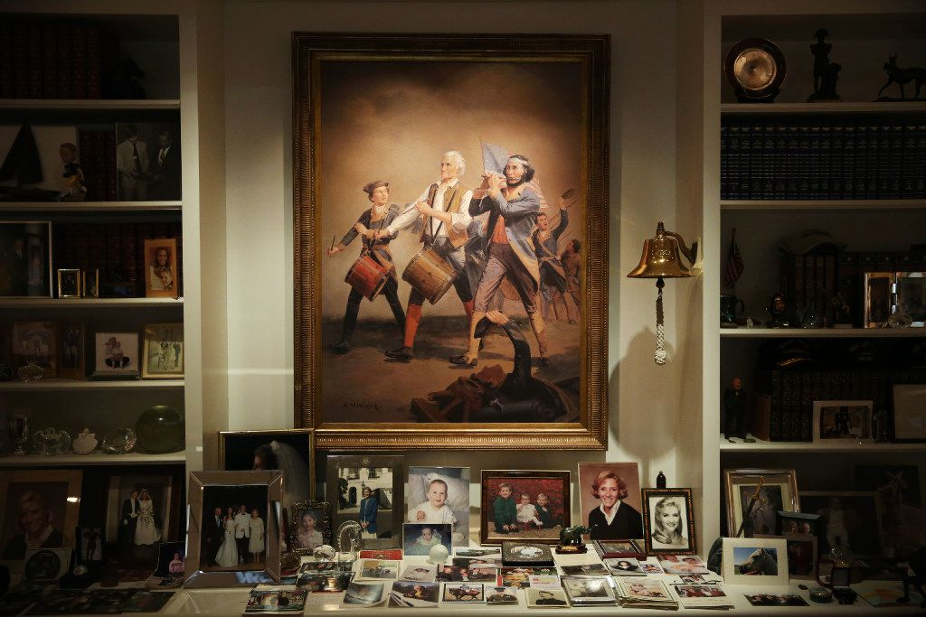 "A digital image on canvas copy of the original ""Spirit of '76"" painted in 1875 by Archibald Willard is among the personal artifacts behind the desk of Ross Perot Sr. at The Perot Group headquarters in Plano, Texas Friday October 14, 2016. The Perot Group is in the process of moving its headquarters. Ross Perot sold the original at auction, but had this copy made. (Andy Jacobsohn/The Dallas Morning News)"