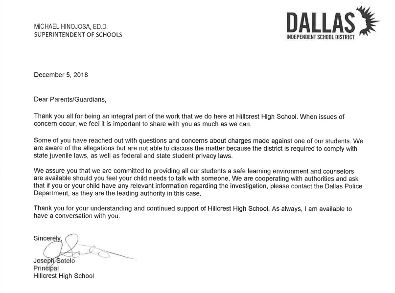 The letter posted to the Hillcrest website Wednesday afternoon
