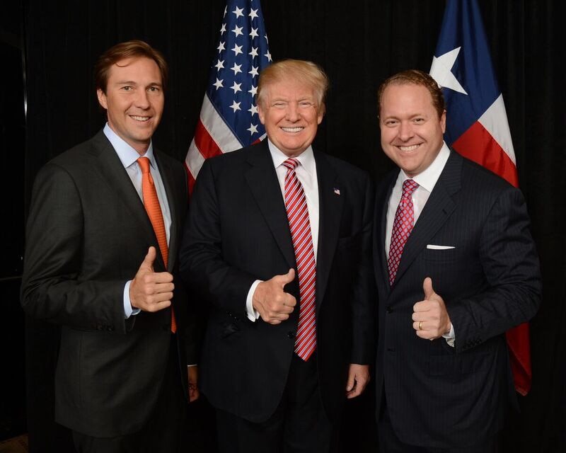 Tommy Hicks Jr., left, with Donald Trump, and Gentry Beach.  The two Dallas businessmen were instrumental in raising millions for the campaign and are credited with helping shape the successful upset campaign.Courtesy Tommy Hicks Jr.