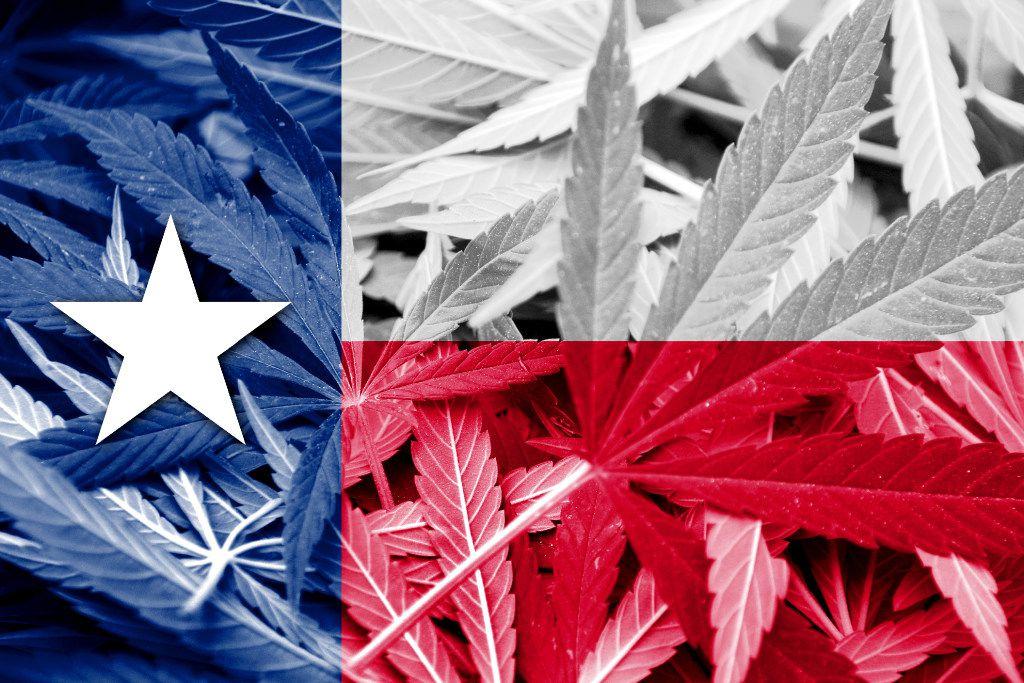 Texas State Flag on cannabis background. Drug policy. Legalization of marijuana