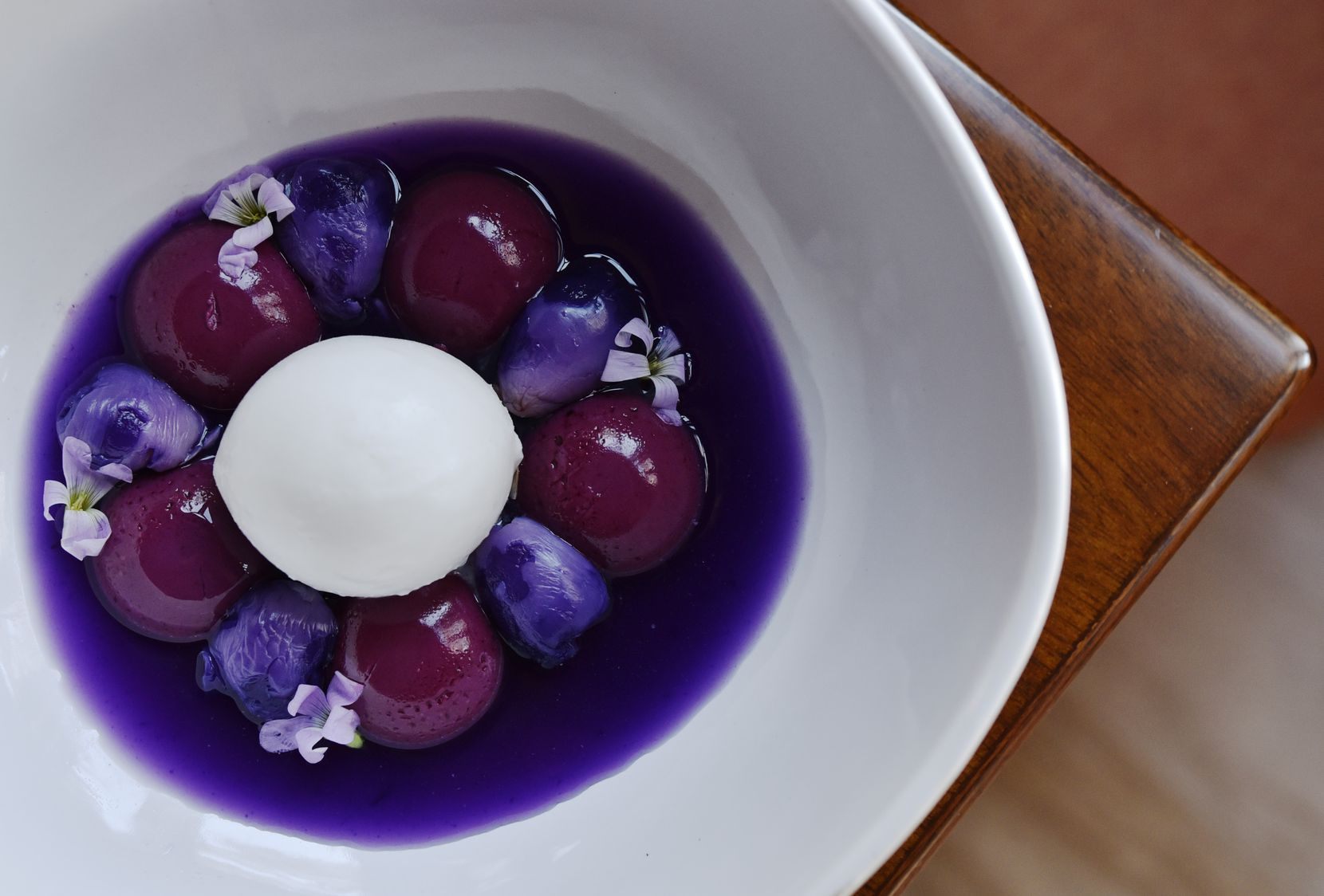 Panna cotta with hibiscus, lychee and coconut