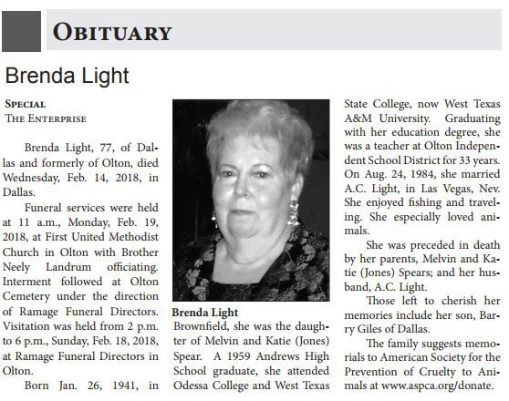 Brenda Light's obituary, published in the Olton Enterprise, had no mention of her son's husband John Gambill.