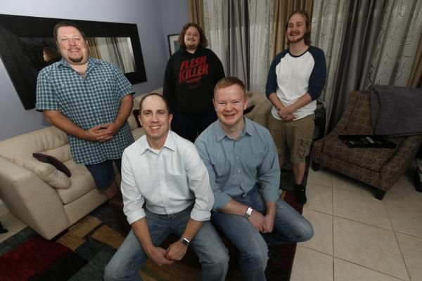 Brian Lane (front left) and Jonathan Boyd (front right) run Wellspring House, a residential recovery program for meth addicts. The men were inspired to open Wellspring after Lane's battle with meth addiction. Also pictured are (back row, left to right) Lytehouse W., Kasey G. and Brett Anderson.