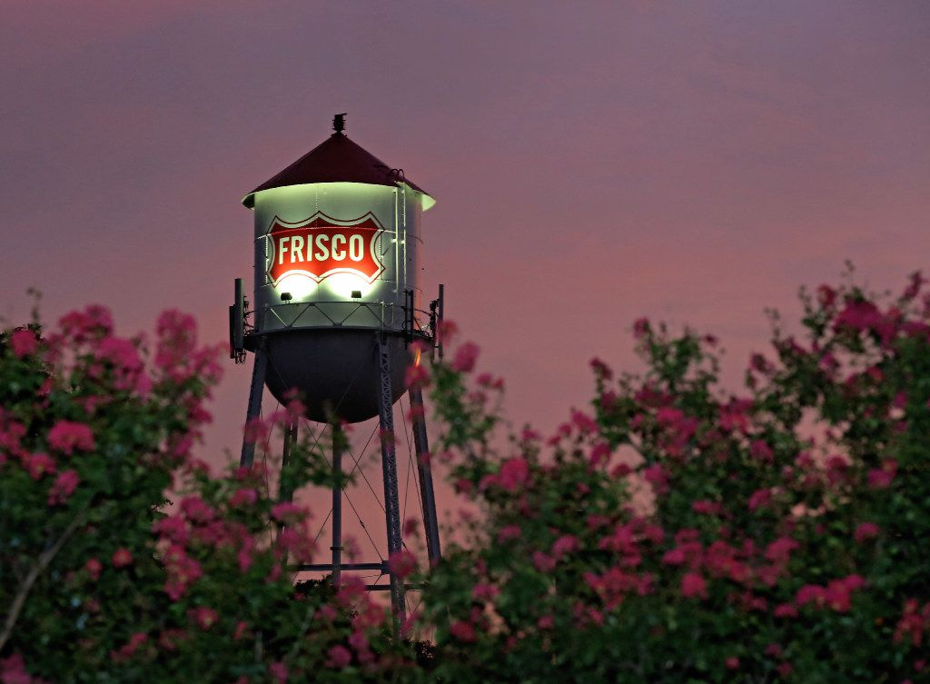 A look at the Frisco water tower at sunset in downtown Frisco.