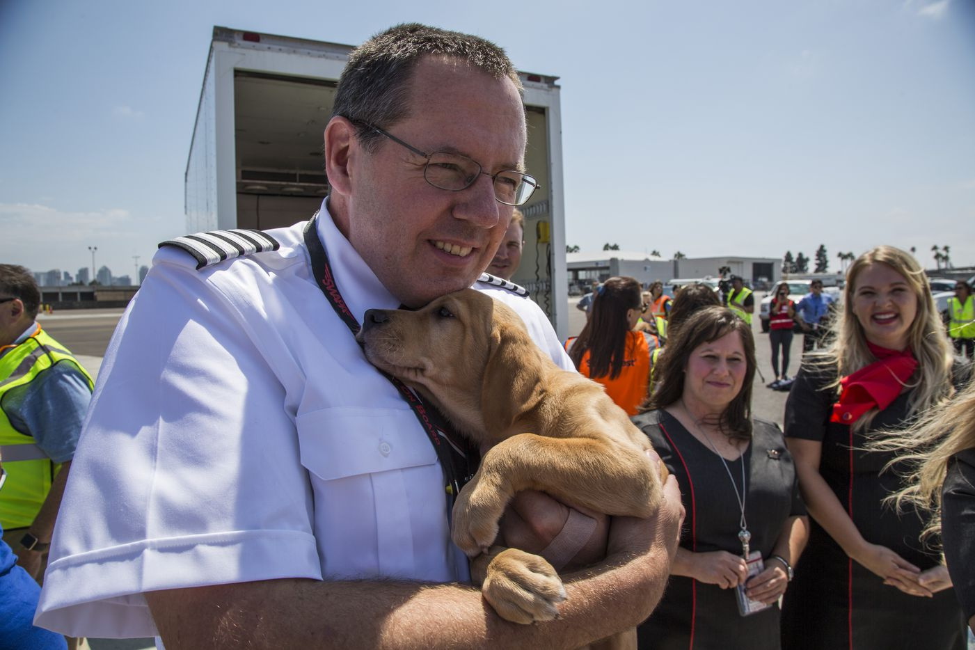 Southwest Airlines teamed up with the Helen Woodward Animal Center to transport 64 animals from local Houston shelters to San Diego, making room for pets displaced by Hurricane Harvey.