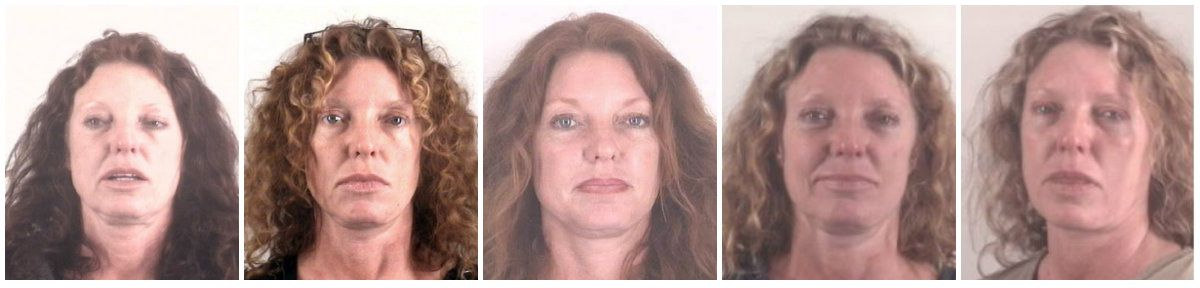 From left, mugshots of Tonya Couch from December 2015, January 2016, May 2016, March 2018 and June 2018. (Tarrant County Sheriff's Department)