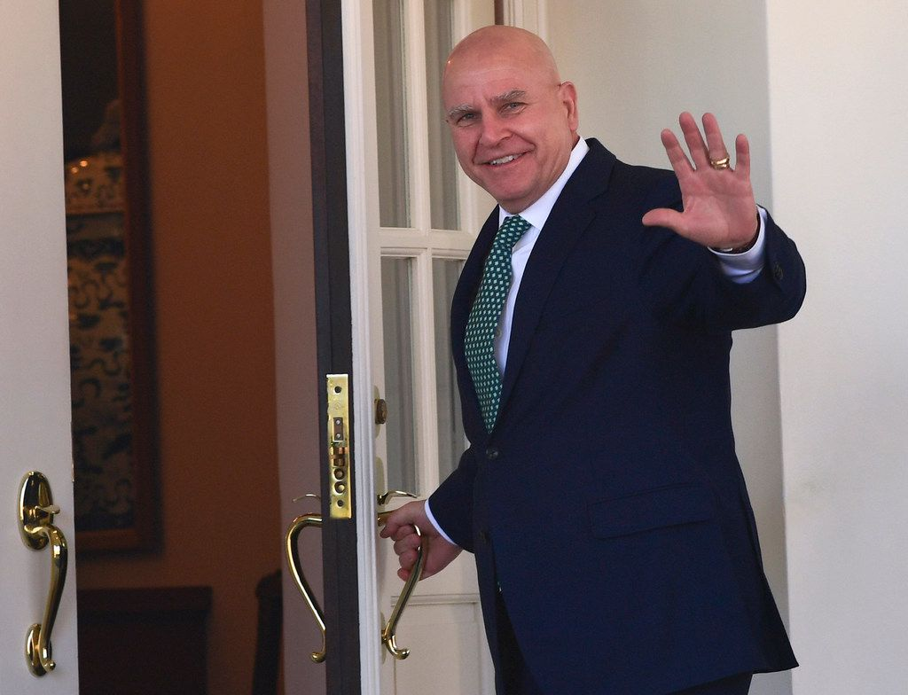 FILE - In this March 16, 2018, file photo. National security adviser H.R. McMaster waves as he walks into the West Wing of the White House in Washington. President Donald Trump announced on Twitter on March 22, 2018, that McMaster is being replaced by former U.N. Ambassador John Bolton.