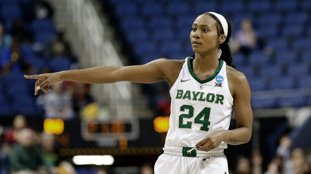 Baylor's Chloe Jackson (24) directs her team against South Carolina during the second half of a regional women's college basketball game in the NCAA Tournament in Greensboro, N.C., Saturday, March 30, 2019. (AP Photo/Chuck Burton)