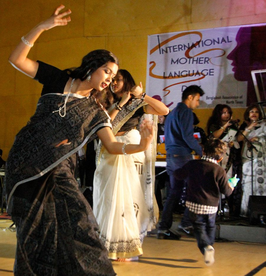 Shayna Mobin (left) and Sanuvar Sultana perform at the International Mother Language Day in Irving.