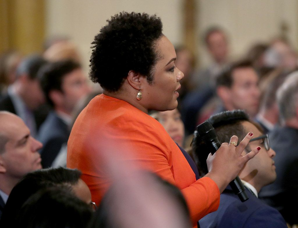 Yamiche Alcindor of PBS NewsHour asks a question to President Donald Trump on Nov. 7 in the East Room of the White House, a day after the midterm elections that saw Republicans retain their Senate majority but lose control of the House to the Democrats.