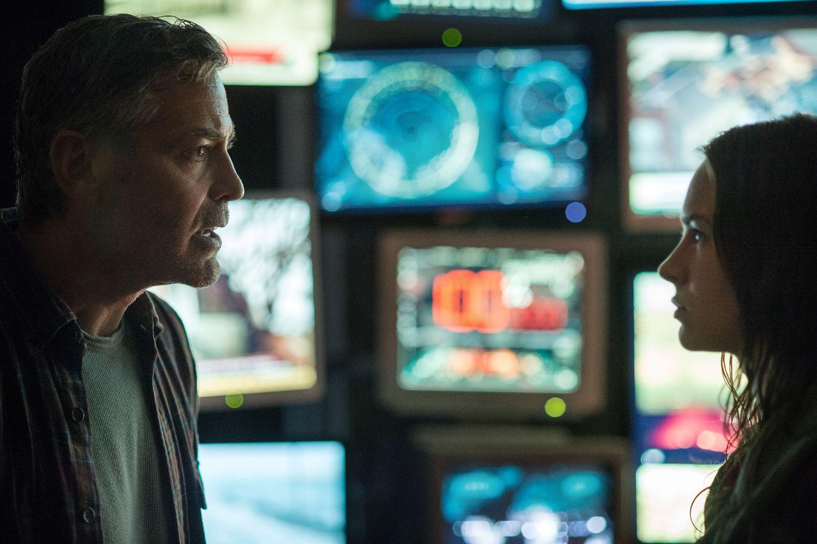 Disney's TOMORROWLAND    L to R: Frank (George Clooney) & Casey (Britt Robertson)     Ph: Kimberley French    Disney 2015 05222015xGUIDE
