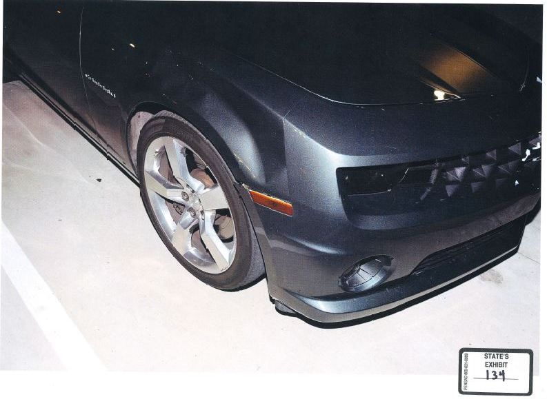This Plano police photo shows the damage to Enrique Arochi's Camaro in the days after Christina Morris went missing.