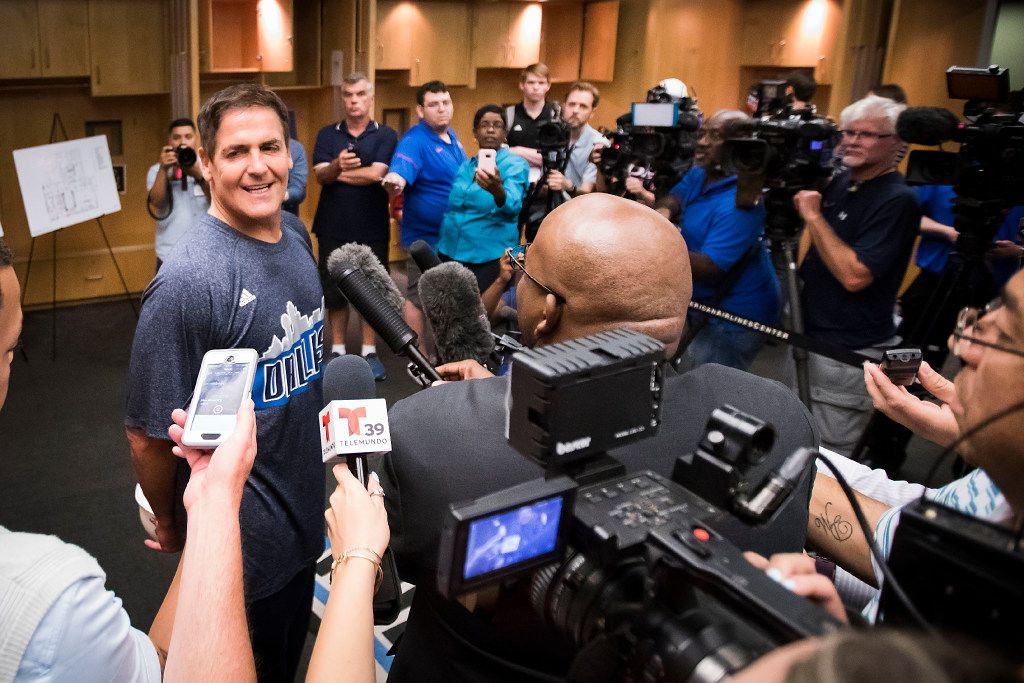 Dallas Mavericks owner Mark Cuban talks about the NBA draft during a press availability in the team's locker room before the 2017 NBA Draft at American Airlines Center on Thursday,June 22, 2017, in Dallas. The team is renovating the locker room into a state-of-the-art facility for the start of next season. (Smiley N. Pool/The Dallas Morning News)