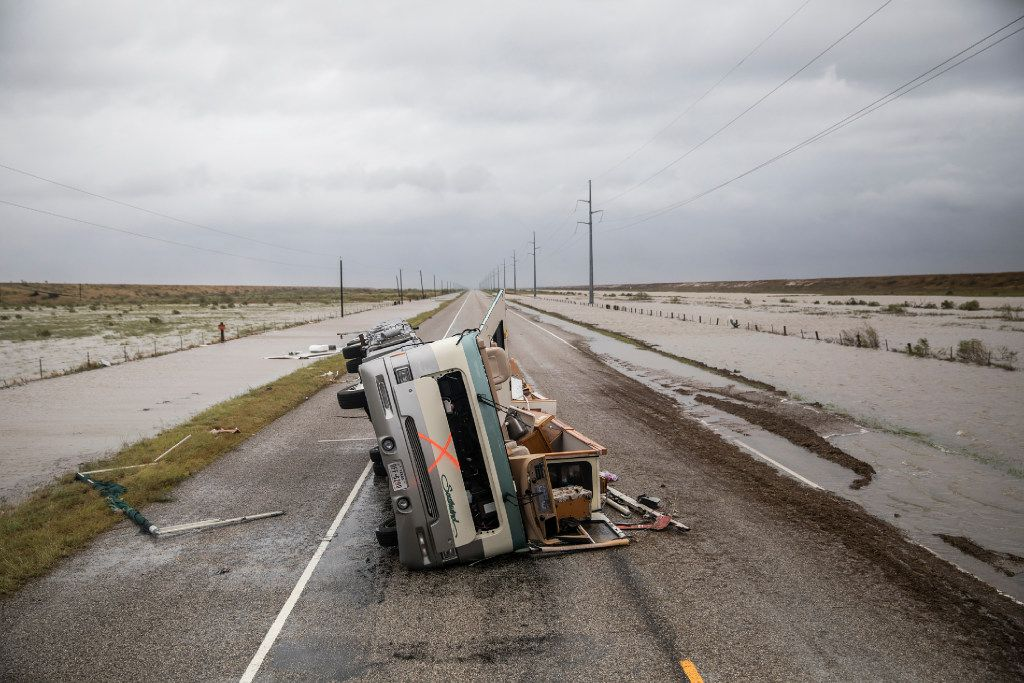 An RV destroyed during Hurricane Harvey  on State Highway 188, outside of Rockport, Texas, Aug. 26, 2017. Rockport, a coastal city of about 10,000, was in the hurricane's path when it came ashore late Friday.
