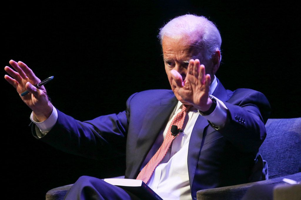 Former Vice President Joe Biden speaks as part of his American Promise Tour on Thursday at The Theatre at Grand Prairie.