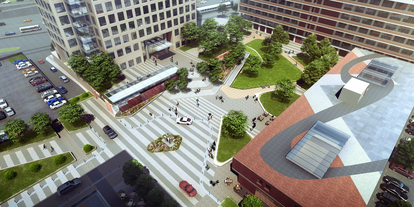Energy Square and the Meadows Building will share a 1-acre park and central plaza.