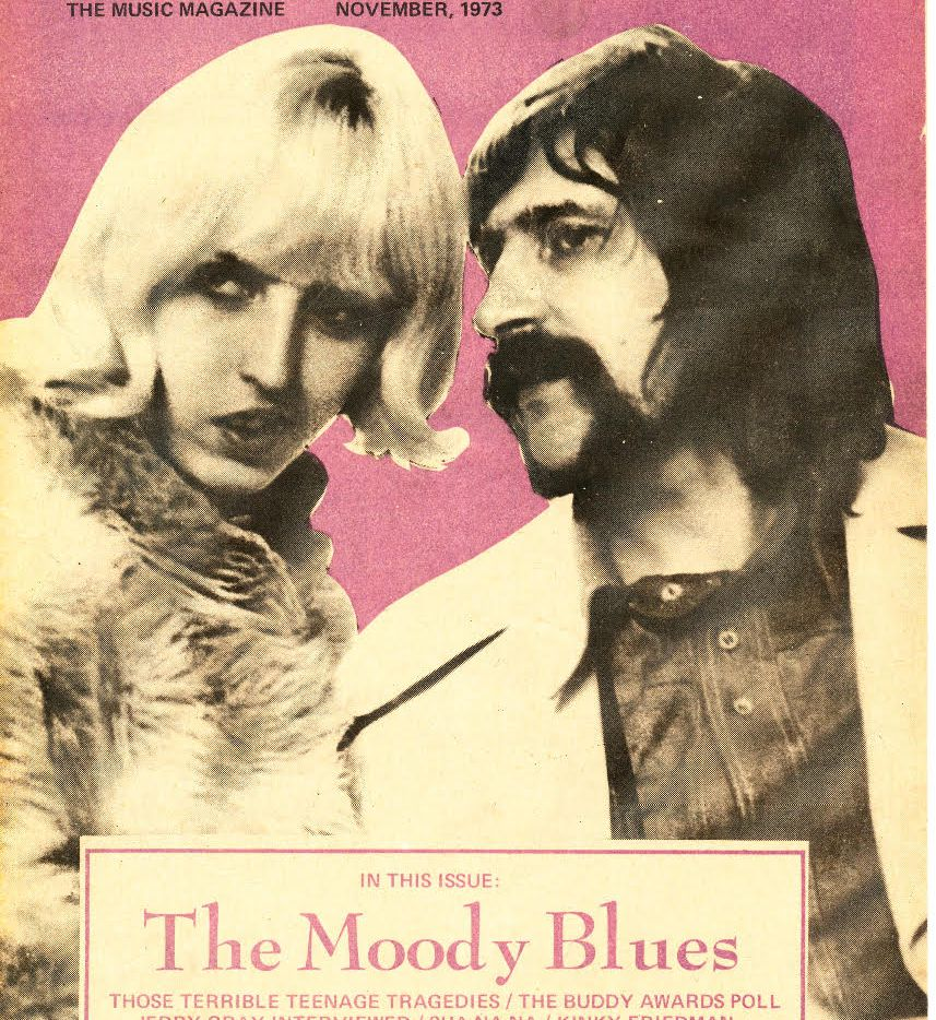 Cope on the cover of Buddy with a member of the Moody Blues, who, the story goes, gave her the nickname Butter Queen