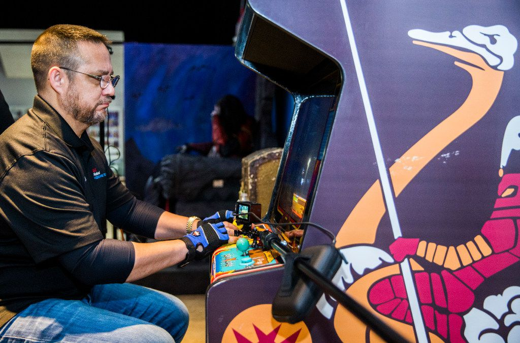 Lonnie McDonald works on a high score on the video game Joust on Wednesday, March 22, 2017 at The National Videogame Museum in Frisco, Texas. The self-proclaimed Joust master is touring the country to post a score of 9,999,999 on every Joust arcade machine known to exist. He did it for the 150th time at The NVM, with a score of 10,214,800, which took him about six hours. (Ashley Landis/The Dallas Morning News)