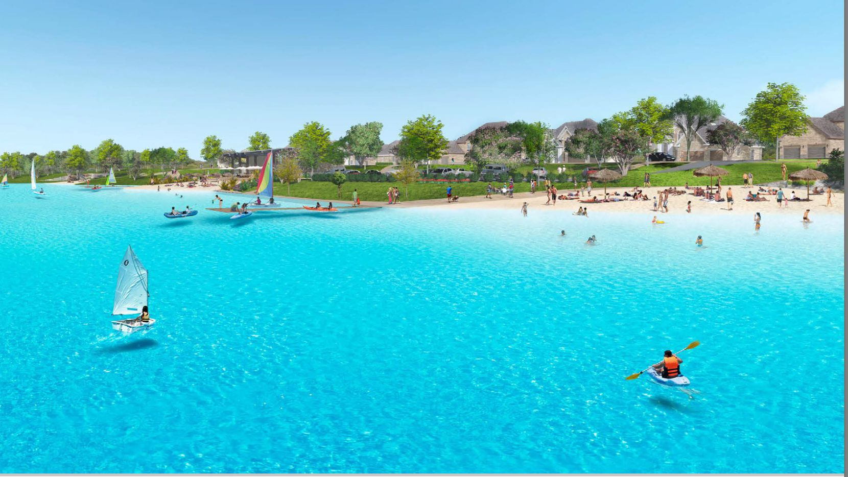 A Crystal Lagoons water feature is under construction in Prosper's Windsong Ranch development north of Dallas.