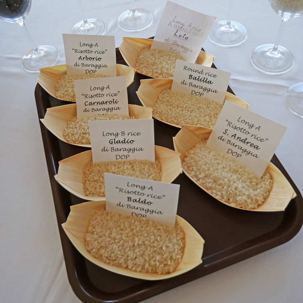 At a food-and-wine immersion conference in Piedmont, Italy, various types of rice were evaluated by chefs, sommeliers and others,  not unlike a wine tasting. It was presented by the Consorzio di Tutela del Riso di Baraggia Biellese e Vercellese. The rice consortium promotes best growing practices for the seven varieties of rice with the coveted European Union Protected Designation of Origin.