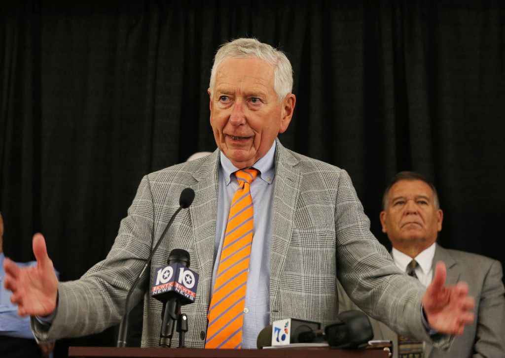 Billionaire businessman Drayton McLane spoke to a group of alumni who gathered for a news conference demanding reform from the school's board of regents concerning the ongoing sexual assault scandal last year.