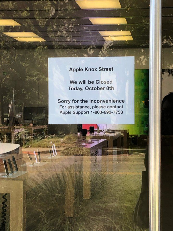The Apple store was closed Tuesday.