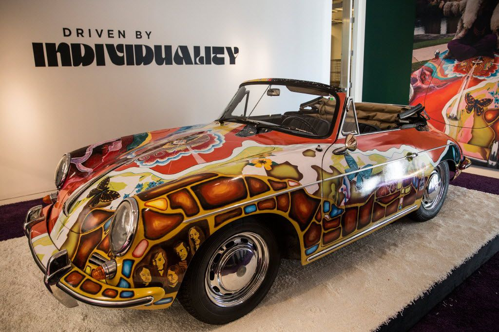 The Janis Joplin 1964 Porsche 356 C 1600 SC Cabriolet on display at Sotheby's