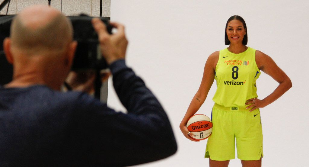 Layne Murdoch photographs Dallas Wings center Liz Cambage (8) during the team's Media Day at the College Park Center on the UT Arlington campus Friday, May 4, 2018. The Dallas Wings are part of the Women's National Basketball Association (WNBA), a women's professional basketball league in the United States. (Ron Baselice/The Dallas Morning News)