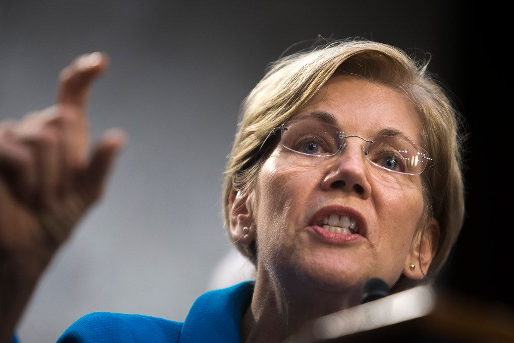 FILE -- Sen. Elizabeth Warren (D-Mass.) on Capitol Hill in Washington, Sept. 13, 2017.  Warren and two other senators released a letter today that they wrote to AT&T CEO Randall Stephenson requesting details about payments to Trump lawyer Michael Cohen(Tom Brenner/The New York Times)