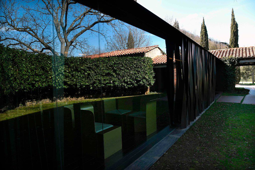 "A picture taken in Olot on March 2, 2017 shows an exterior view of the restaurant ""les Cols"" designed by RCR architects, formed by Spanish architects, Rafael Aranda, Carme Pigem and Ramon Vialta."