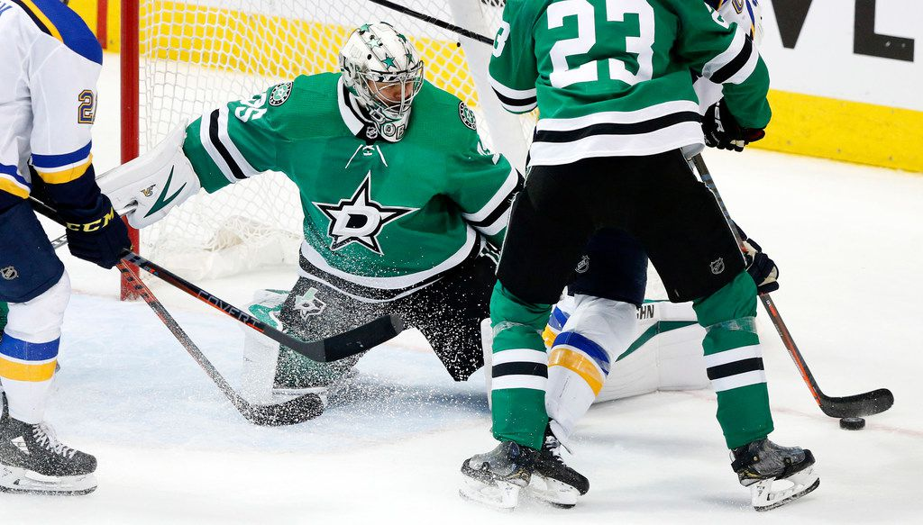 Dallas Stars goaltender Anton Khudobin (35) makes a stop by the St. Louis Blues during the third period at the American Airlines Center in Dallas, Sunday, May 5, 2019. The teams were playing Western Conference Second Round Game 6 of the 2019 NHL Stanley Cup Playoffs. The Stars lost to the St. Louis Blues, 4-1. (Tom Fox/The Dallas Morning News)