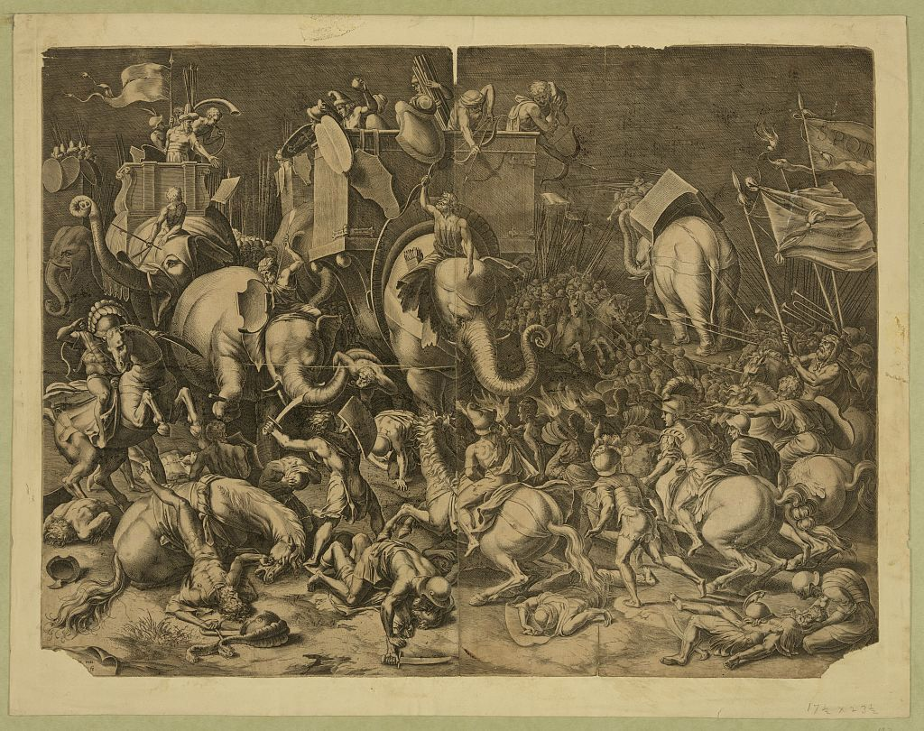 The battle of Zama.  Engraving after painting by Cornelis Cort. Date Created/Published: [between 1600 and 1799]  Print showing Scipio Africanus on horseback with Roman soldiers engaging Hannibal, riding a war elephant, during the battle of Zama.