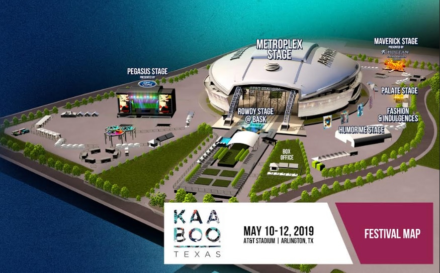 A rendering of the Kaaboo Texas festival site. The event, which includes music, comedy and cuisine, takes place May 10-12 at AT&T Stadium in Arlington.