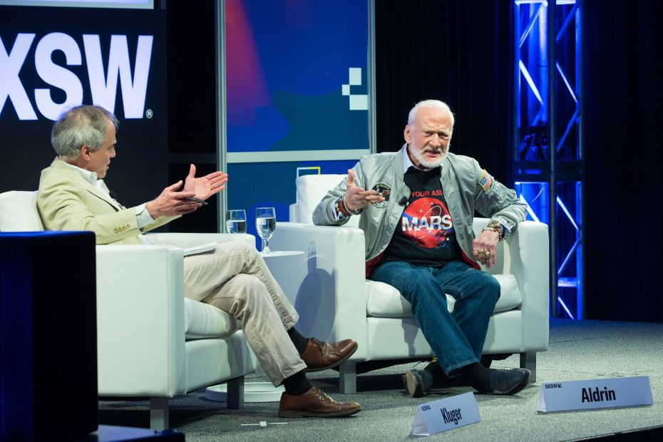 Time Magazine's Jeffrey Kluger (L) and Buzz Aldrin participates in a featured session during The South by Southwest (SXSW) Interactive Conference at the Austin Convention Center on March 14, 2017 in Austin, Texas. / AFP PHOTO / SUZANNE CORDEIROSUZANNE CORDEIRO/AFP/Getty Images