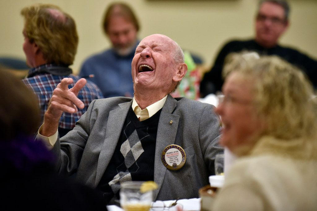 "Dennis Jeter, 86, laughs while asking Bobbie Wygant a question at Wygant's appearance at the Oak Cliff Lions Club's weekly luncheon on Dec. 18 in Dallas. NBC5's longtime entertainment reporter spoke about her book ""Talking to the Stars"" and signed copies for fans.  Throughout her career, she's interviewed celebrities such as Debbie Reynolds, Gene Wilder, Paul McCartney and Bradley Cooper."