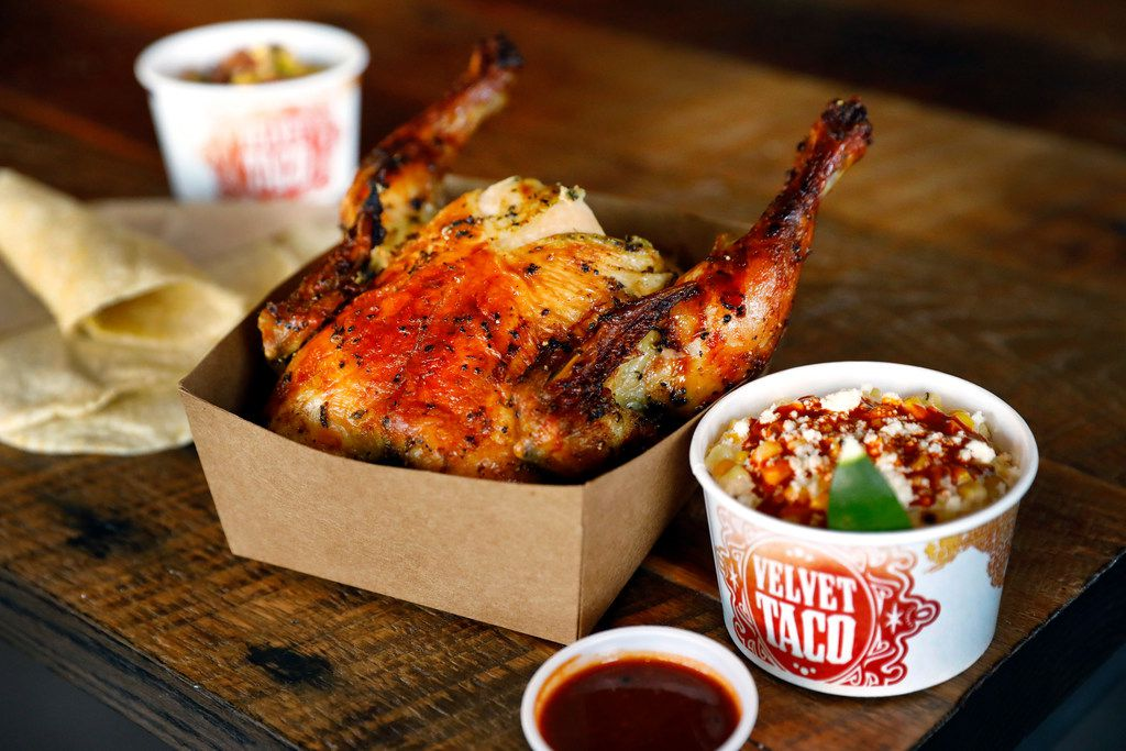 Velvet Taco's Back Door Chicken is served with sides and corn tortillas.