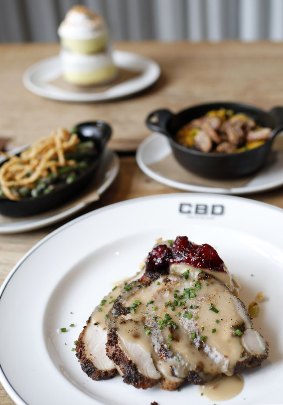 CBD Provisions is selling Thanksgiving plates. Options include fried turkey, cornbread dressing, blackberry and cranberry compote, green bean casserole, brown butter sweet potato puree, and banana trifle.