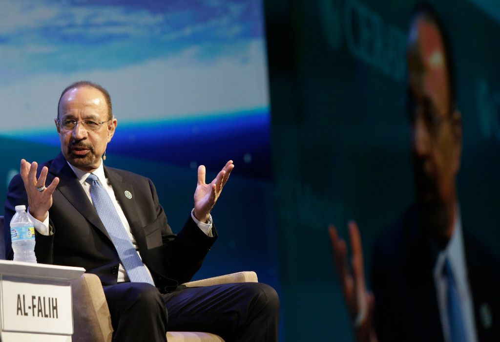 Khalid A. Al-Falih, Minister of Energy, Industry and Mineral Resources of Saudi Arabia and chairman of Saudi Aramco, speaks during CERAWeek, Tuesday, March 7, 2017, in Houston. (Melissa Phillip/Houston Chronicle via AP)