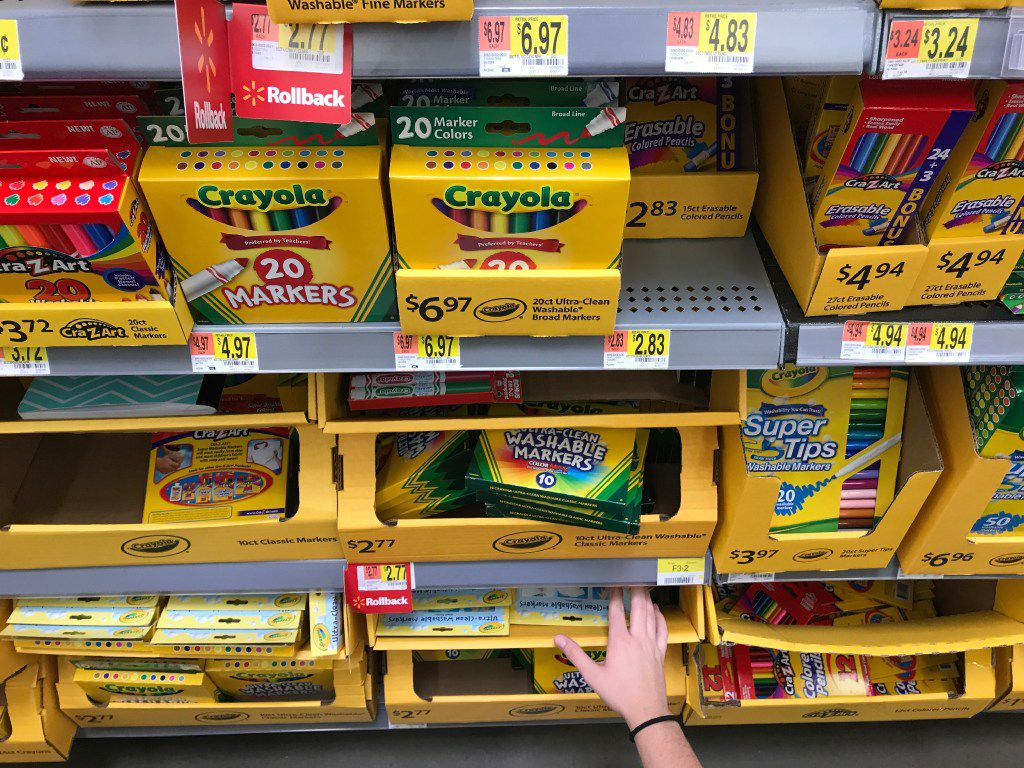 Morning News writer Lauren Fox hunts for school supplies at Wal-Mart in Dallas on Wednesday, August 10, 2017.