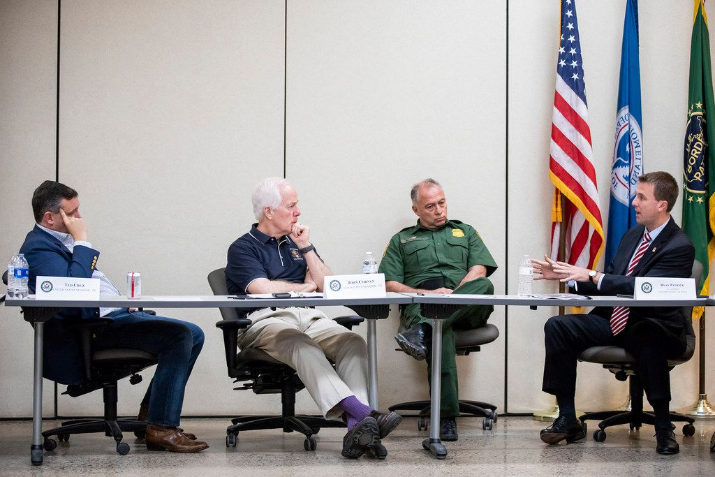 From left, Senator Ted Cruz, Senator John Cornyn, and U.S. Border Patrol, RGV Sector, Chief Manuel Padilla listen to Ryan Patrick, U.S. Attorney for the Southern District of Texas, as he addresses a roundtable discussion at the Weslaco Border Patrol Station on Friday, June 22, 2018, in Weslaco, Texas. The Texas Senators held the roundtable with representatives of federal agencies, non-profits and local elected officials involved in handling immigrant families.