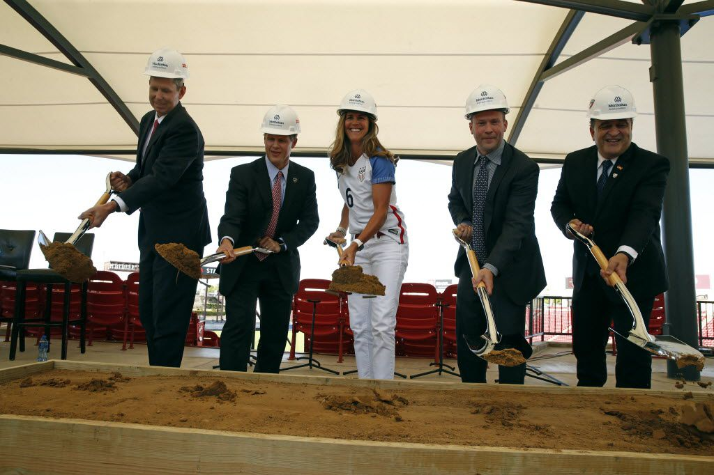 A ground-breaking ceremony was held in May for the improvements coming to Toyota Stadium. From left are Frisco ISD Superintendent Jeremy Lyon, FC Dallas Chairman and CEO Clark Hunt, former member of the U.S. Women's National Soccer Team Brandi Chastain, FC Dallas president Dan Hunt and Frisco Mayor Maher Maso.