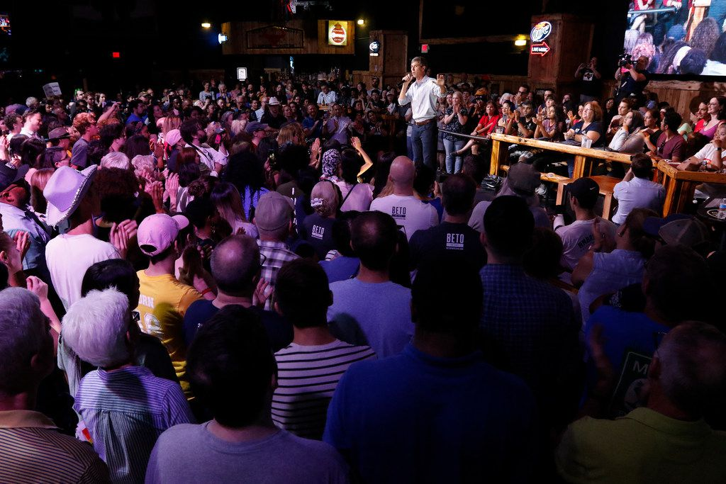 Beto O'Rourke talks to voters during a rally at the Houston Stampede Event Center in Houston Texas, on Saturday, September 8, 2018. Ted Cruz campaigned in Humble, Texas, Texas on Saturday, while Beto O'Rourke campaigned a few miles away in Houston, Texas.