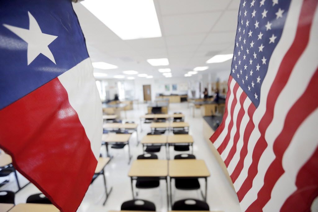 Each classroom has been requisitioned a Texas state flag and a U.S. flag at the new Reedy High School in Frisco, Tuesday, August 18, 2015.
