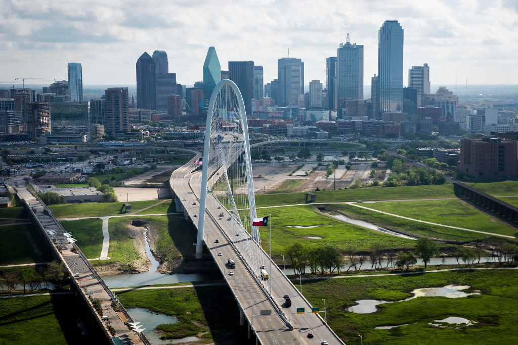 The Margaret Hunt Hill Bridge bridge and downtown Dallas skyline photographed on Thursday, March 23, 2017, in Dallas, TX. (Smiley N. Pool/The Dallas Morning News)
