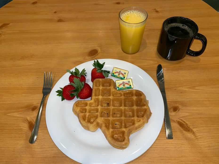 Dig into a waffle shaped like the state of Texas at the Crockett in San Antonio.