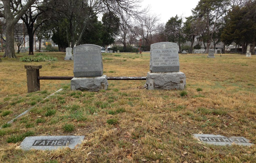 Heinrich and Anna Struck are buried in the Western Heights Cemetery off Fort Worth Avenue, along with their kin.